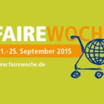 Einkaufswagen, der einen Globus enthält - Faire Woche 11.-25. September 2015